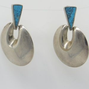 Jewelry - Large Vintage Sterling Turquoise Earrings